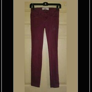 Hollister Maroon Skinny Pants 00 Reg